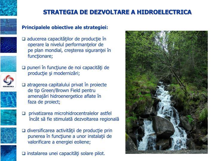 STRATEGIA DE DEZVOLTARE A HIDROELECTRICA