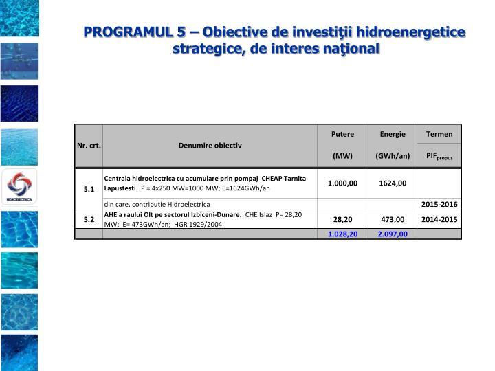 PROGRAMUL 5 – Obiective de investiţii hidroenergetice