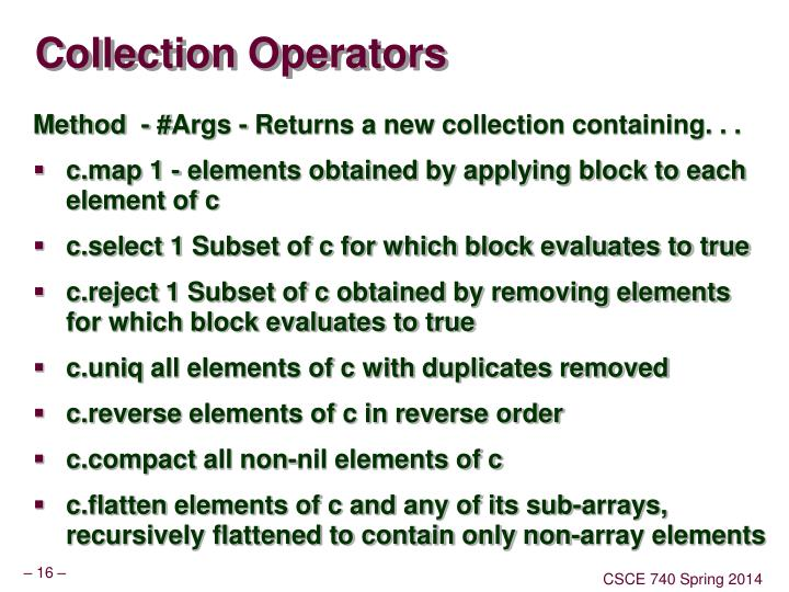 Collection Operators