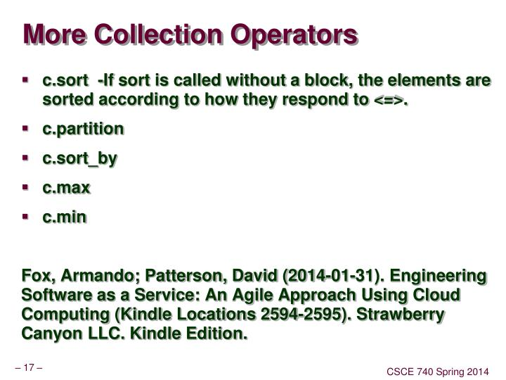 More Collection Operators