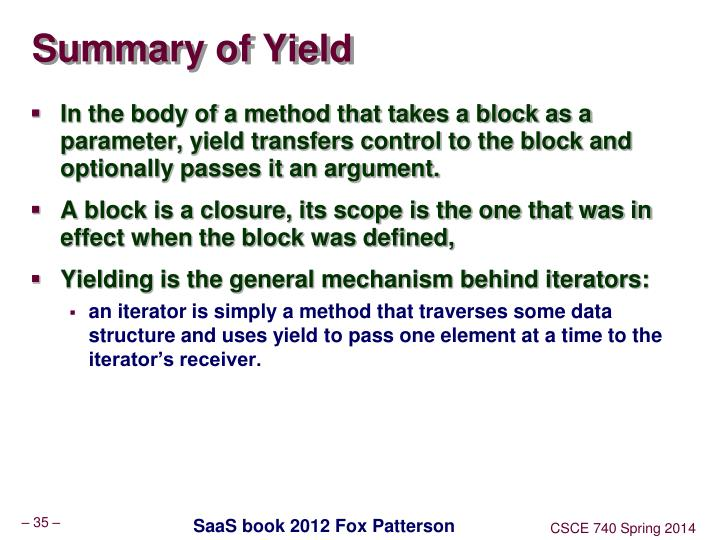 Summary of Yield