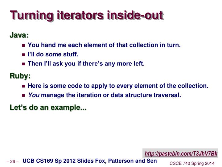 Turning iterators inside-out
