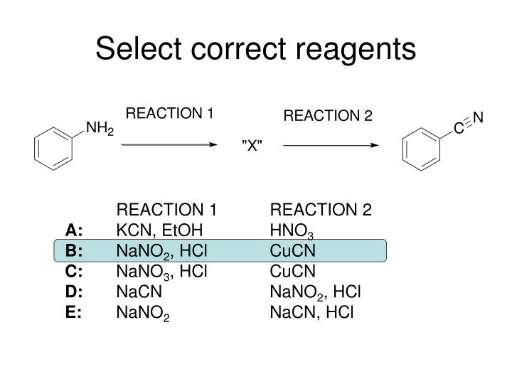 Select correct reagents