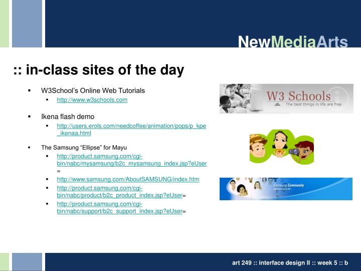 In class sites of the day