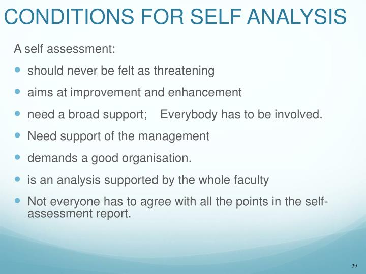 CONDITIONS FOR SELF