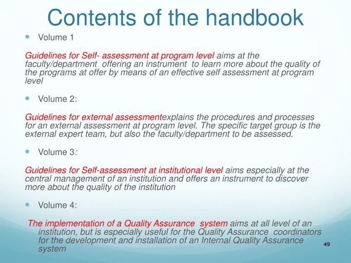 Contents of the handbook
