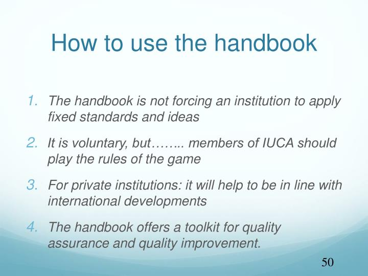 How to use the handbook
