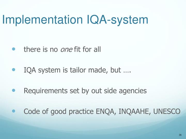 Implementation IQA-system