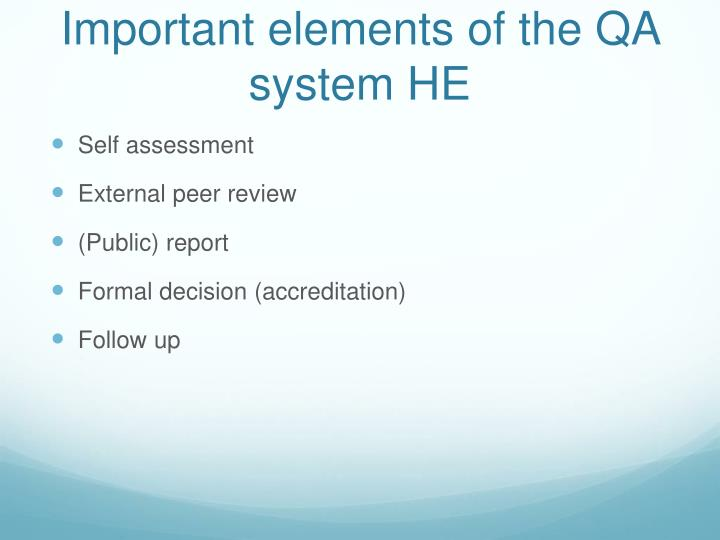 Important elements of the QA system HE