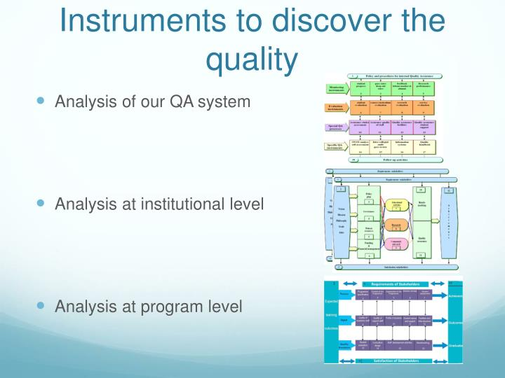 Instruments to discover the quality