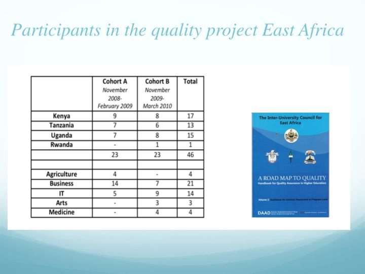 Participants in the quality project East Africa