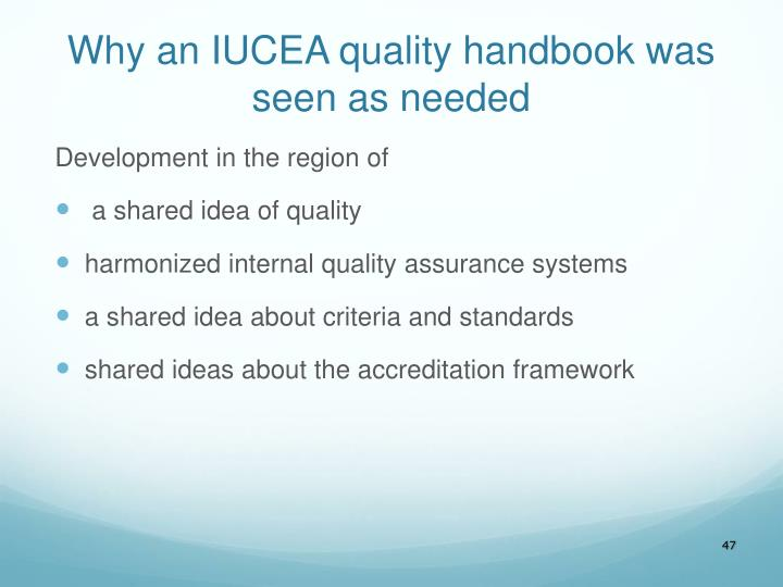 Why an IUCEA quality handbook was seen as needed
