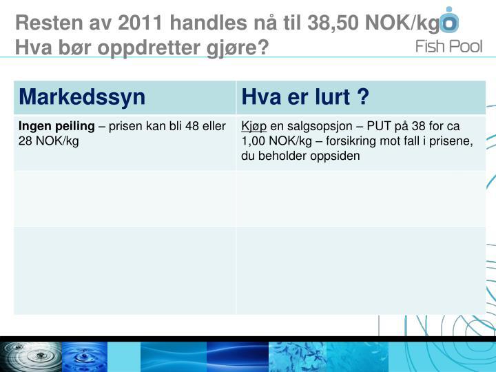 Resten av 2011 handles nå til 38,50 NOK/kg