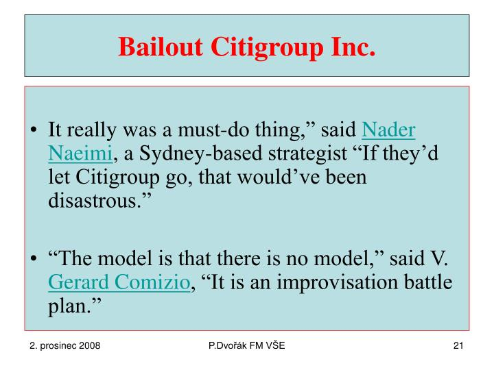 Bailout Citigroup Inc.