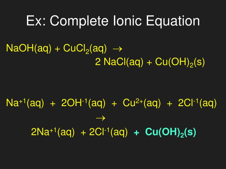 Ex: Complete Ionic Equation