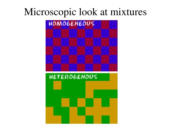 Microscopic look at mixtures