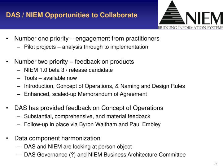 DAS / NIEM Opportunities to Collaborate