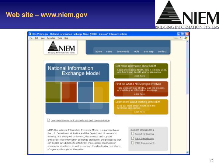 Web site – www.niem.gov