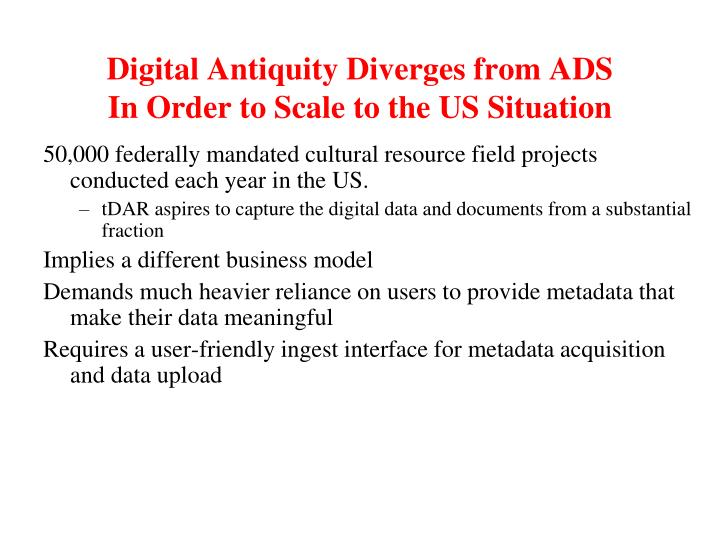 Digital Antiquity Diverges from ADS