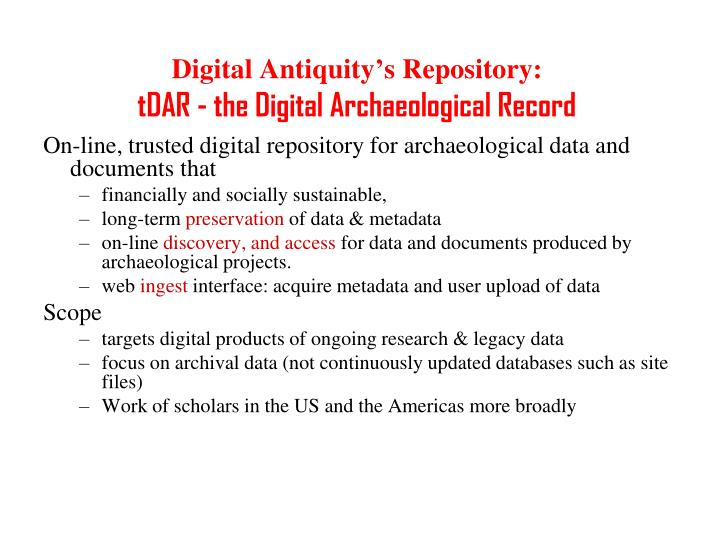 Digital Antiquity's Repository: