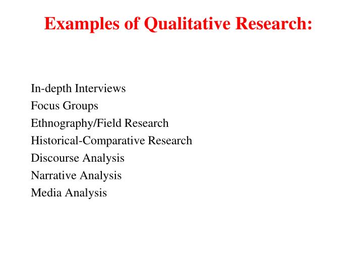 Examples of Qualitative Research: