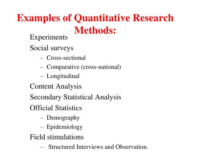 Examples of Quantitative Research Methods: