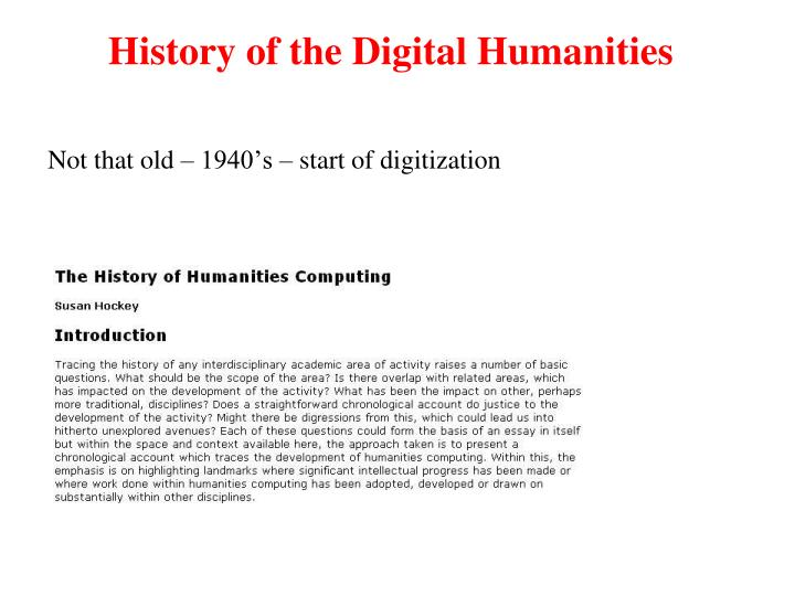 History of the Digital Humanities