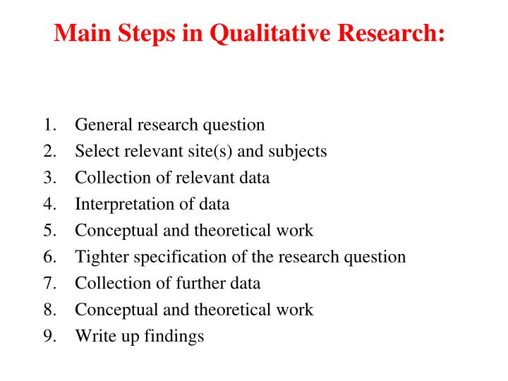 Main Steps in Qualitative Research: