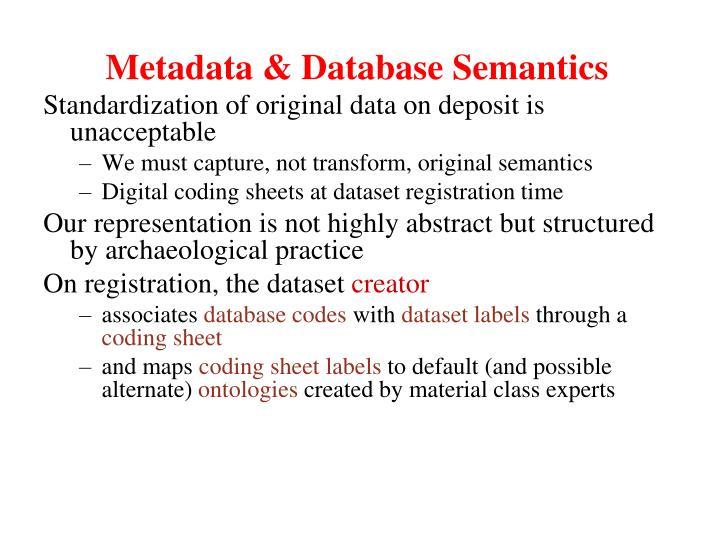 Metadata & Database Semantics