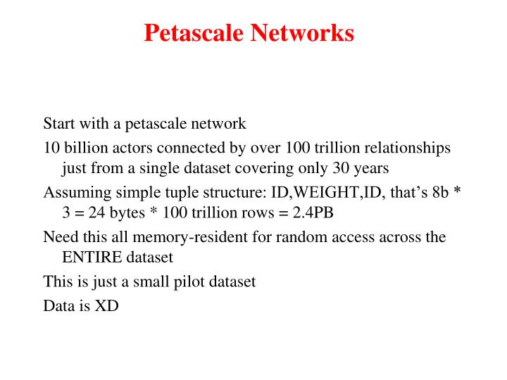Petascale Networks