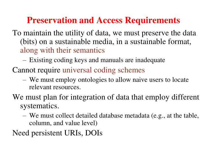 Preservation and Access Requirements