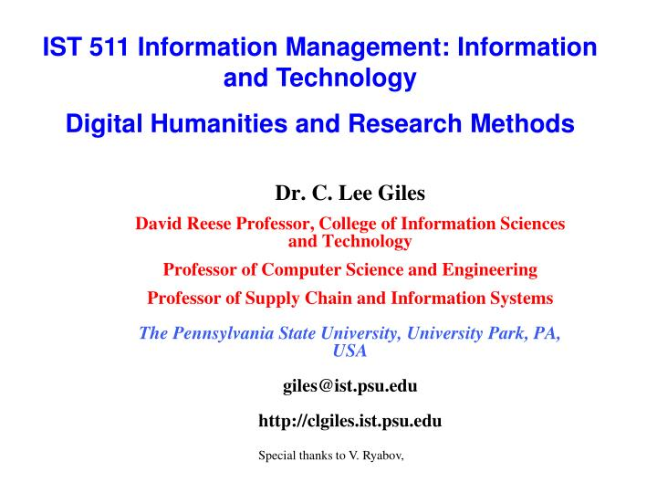 IST 511 Information Management: Information and Technology