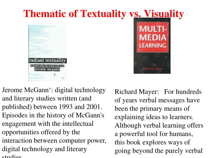 Thematic of Textuality vs. Visuality