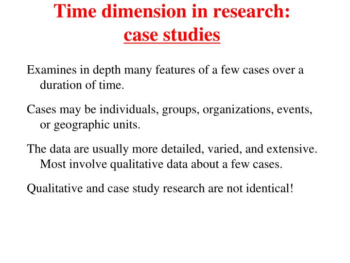 Time dimension in research: