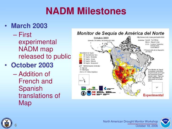 NADM Milestones