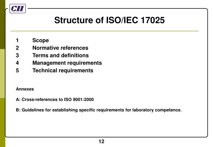 Structure of ISO/IEC 17025