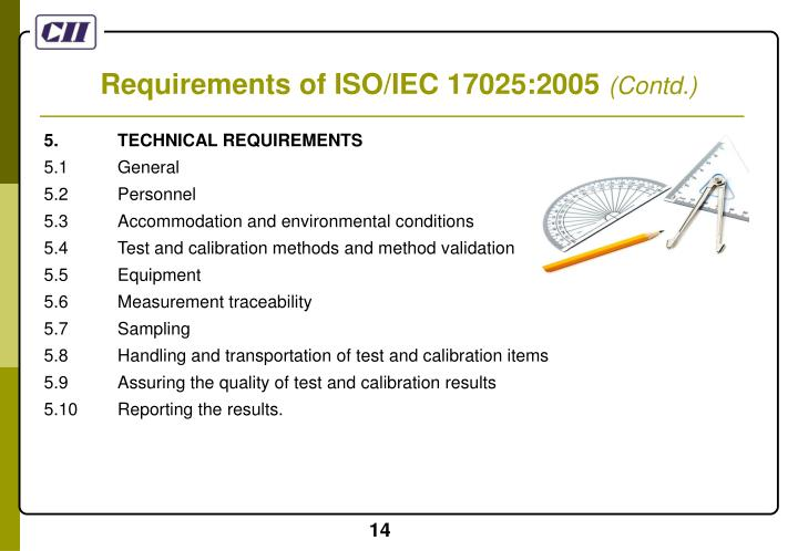 Requirements of ISO/IEC 17025:2005