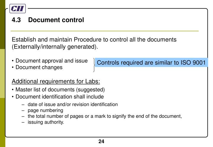 4.3    Document control
