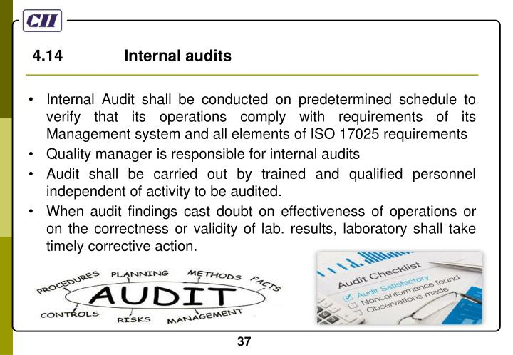 4.14              Internal audits