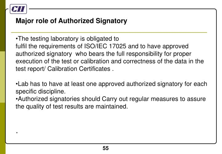 Major role of Authorized Signatory