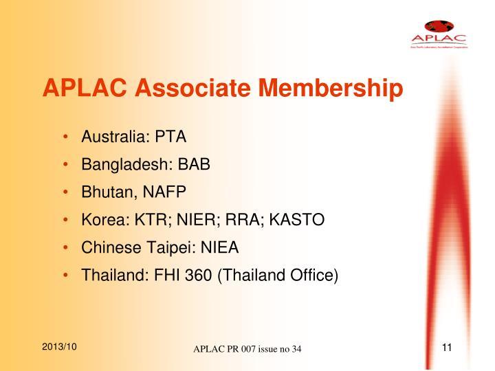 APLAC Associate Membership
