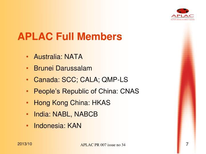 APLAC Full Members