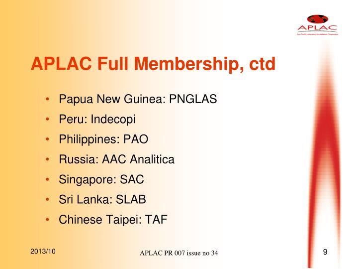 APLAC Full Membership, ctd