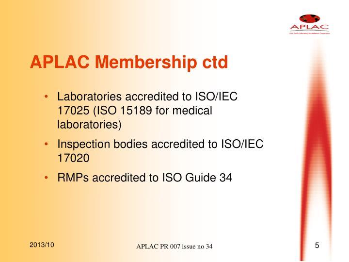 APLAC Membership ctd
