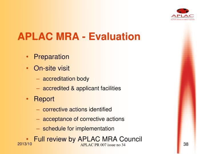 APLAC MRA - Evaluation