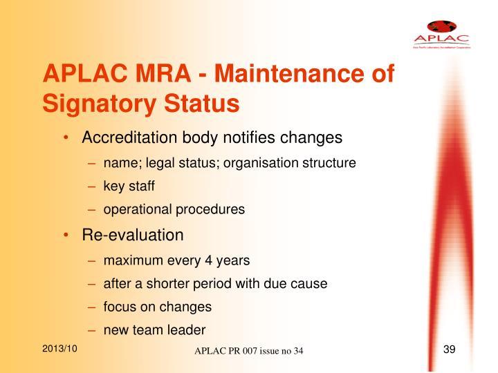 APLAC MRA - Maintenance of Signatory Status