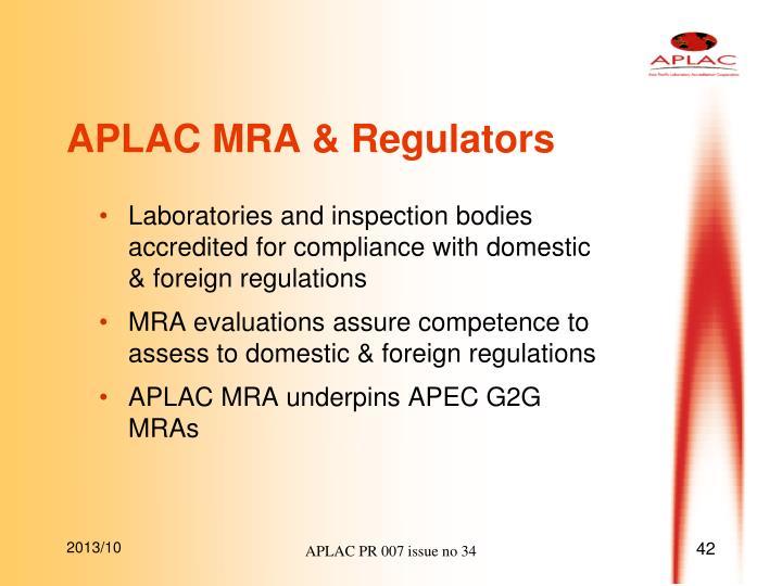 APLAC MRA & Regulators