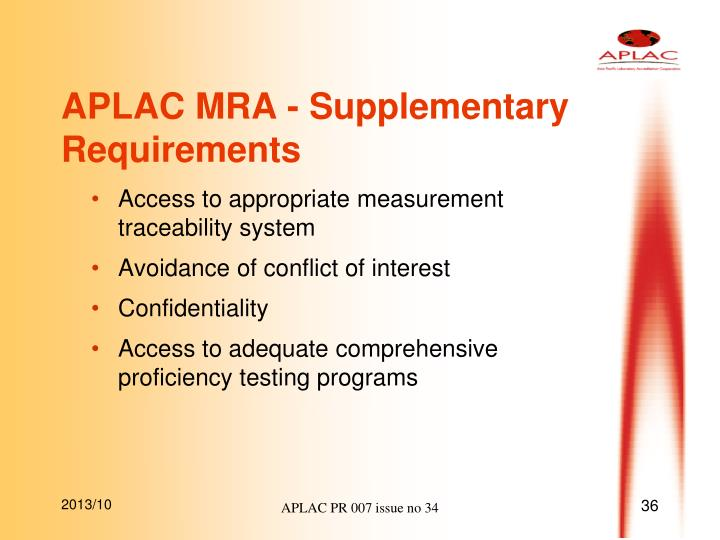 APLAC MRA - Supplementary Requirements