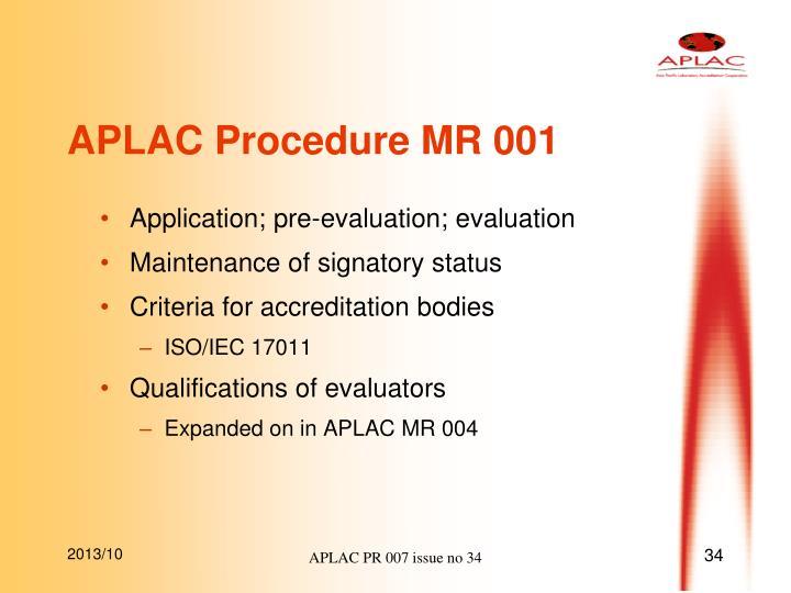 APLAC Procedure MR 001