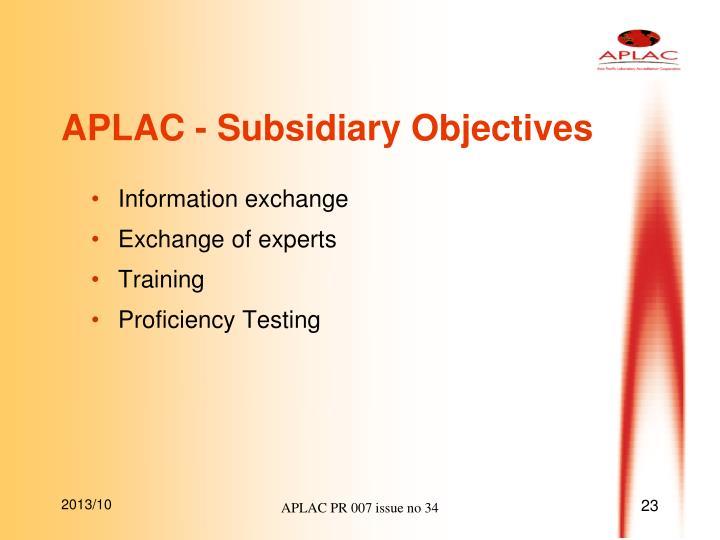 APLAC - Subsidiary Objectives